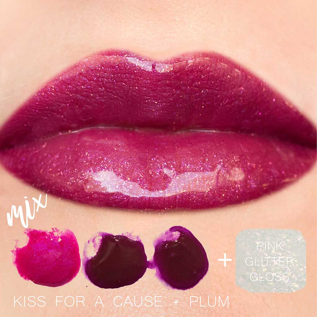 Kiss for cause plum pink glitter